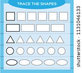 trace the shapes. kids... | Shutterstock .eps vector #1131046133