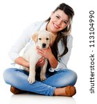 Stock photo woman with a little puppy isolated over a white background 113104990