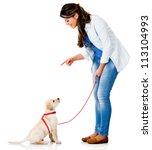 Woman Training Her Dog  ...