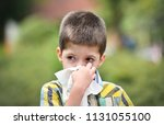little boy is blowing his nose | Shutterstock . vector #1131055100