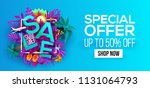 summer sale banner with paper...   Shutterstock .eps vector #1131064793