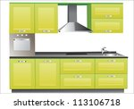 modern green kitchen interior. | Shutterstock .eps vector #113106718