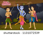 krishna lifting mountain on... | Shutterstock .eps vector #1131072539