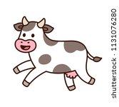 cute cartoon running cow... | Shutterstock .eps vector #1131076280