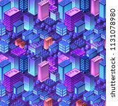 isometric violet purple... | Shutterstock .eps vector #1131078980