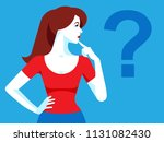 woman is thinking. woman... | Shutterstock .eps vector #1131082430