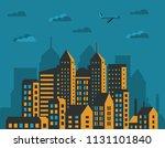 modern city skyscrapers set... | Shutterstock .eps vector #1131101840