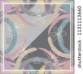 silk scarf design with flowers... | Shutterstock .eps vector #1131113660