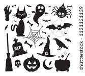 black silhouette halloween... | Shutterstock .eps vector #1131121139