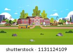 yellow bus in front of school... | Shutterstock .eps vector #1131124109