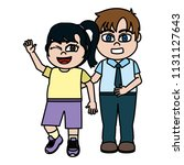 funny girl and boy children... | Shutterstock .eps vector #1131127643