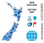 new zealand map mosaic of blue... | Shutterstock .eps vector #1131136583