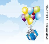 gift with balloons over sky... | Shutterstock .eps vector #113113903