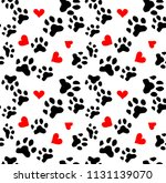 dog paw cat paw heart love... | Shutterstock . vector #1131139070