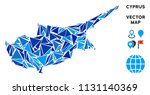 cyprus island map mosaic of... | Shutterstock .eps vector #1131140369