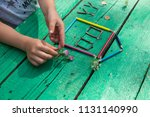 the child draw picture with... | Shutterstock . vector #1131140990