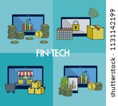 financial technology square... | Shutterstock .eps vector #1131142199
