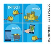 financial technology square... | Shutterstock .eps vector #1131142220