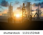 silhouette of engineer and... | Shutterstock . vector #1131152468