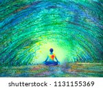 chakra color human lotus pose... | Shutterstock . vector #1131155369