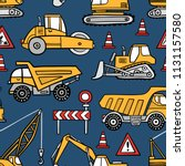 hand drawn construction cars... | Shutterstock .eps vector #1131157580