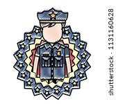 doodle policeman with usa... | Shutterstock .eps vector #1131160628