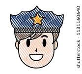doodle happy policeman head... | Shutterstock .eps vector #1131160640