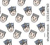 doodle happy policeman and man... | Shutterstock .eps vector #1131160760