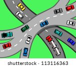 traffic with cars and trucks on ... | Shutterstock .eps vector #113116363