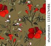 retro wild seamless flower... | Shutterstock .eps vector #1131176486