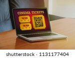 cinema tickets purchase in a... | Shutterstock . vector #1131177404