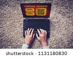 woman buying cinema tickets on... | Shutterstock . vector #1131180830
