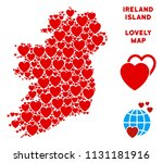 romantic ireland island map... | Shutterstock .eps vector #1131181916