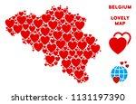romantic belgium map collage of ... | Shutterstock .eps vector #1131197390