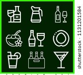set of 9 alcohol outline icons... | Shutterstock .eps vector #1131201584