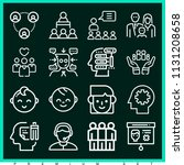 set of 16 people outline icons...   Shutterstock .eps vector #1131208658