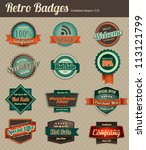 retro badges   combined | Shutterstock .eps vector #113121799