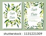 wedding invitation frames with... | Shutterstock .eps vector #1131221309