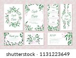 wedding card templates set with ... | Shutterstock .eps vector #1131223649