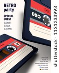 compact cassette poster with... | Shutterstock .eps vector #1131233993