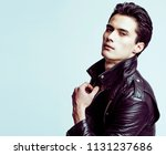 young handsome man  leather... | Shutterstock . vector #1131237686