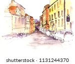 sketch of city street  urban... | Shutterstock . vector #1131244370