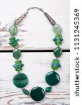 beaded necklace with green... | Shutterstock . vector #1131245369