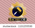 gold badge or emblem with... | Shutterstock .eps vector #1131255530
