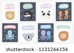 vector set of cute postcards... | Shutterstock .eps vector #1131266156