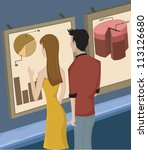 a man and woman looking at... | Shutterstock . vector #113126680