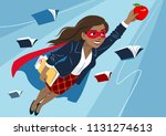 young woman in cape and mask... | Shutterstock .eps vector #1131274613