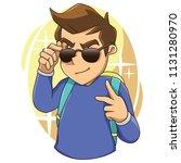 cool boy sticker vector... | Shutterstock .eps vector #1131280970