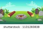 forest grass field bbq grill...   Shutterstock .eps vector #1131283838