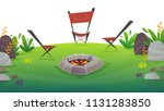 2 chairs camping with barbeque... | Shutterstock .eps vector #1131283850